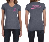 Ladies Shirt Pink Ribbon Save the Boobies Front & Back V-neck Tee