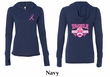 Ladies Shirt Pink Ribbon Tackle Front & Back Tri Blend Hoodie Tee