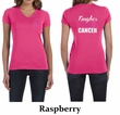 Ladies Shirt Pink Ribbon Tougher Front & Back Print V-neck Tee T-Shirt