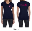 Ladies Shirt Pink Ribbon Walkin For a Cure Front & Back V-neck Tee