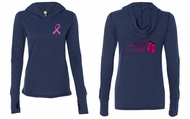 Ladies Shirt Pink Ribbon Walkin For Cure Front & Back Tri Blend Hoodie