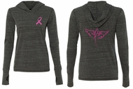 Ladies Shirt Pink Ribbon Wings Front & Back Print Tri Blend Hoodie Tee