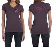 Ladies Shirt Pink Ribbon Wings Front & Back Print V-neck Tee T-Shirt
