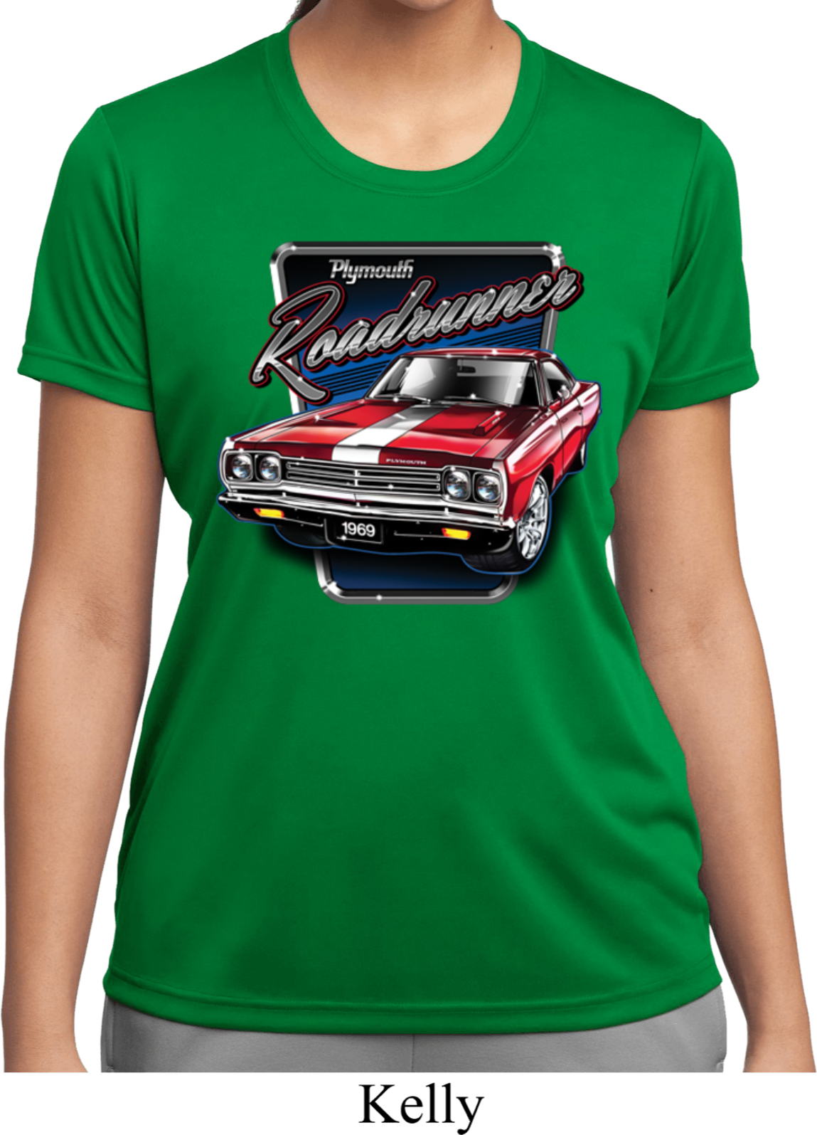 Ladies shirt plymouth roadrunner moisture wicking tee t for Sweat wicking t shirts