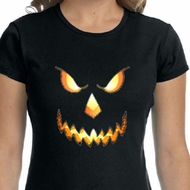 Ladies Shirt Pumpkin Head Crewneck Tee T-Shirt