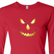 Ladies Shirt Pumpkin Head Long Sleeve Tee T-Shirt