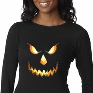 Ladies Shirt Pumpkin Head Long Sleeve Thermal Tee T-Shirt