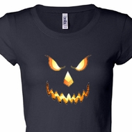 Ladies Shirt Pumpkin Head Longer Length Tee T-Shirt