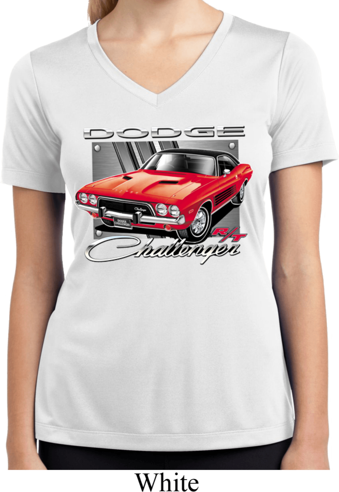 Ladies shirt red challenger white moisture wicking v neck for Sweat wicking t shirts
