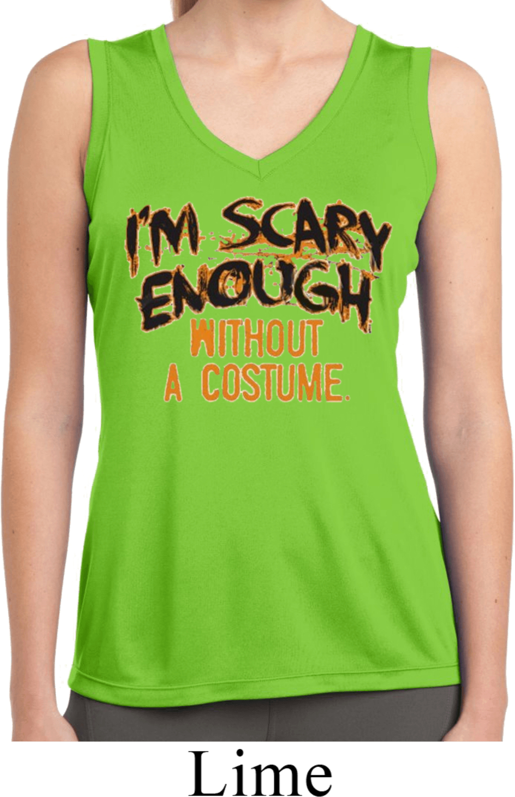 Ladies shirt scary enough sleeveless moisture wicking tee for Sweat wicking t shirts