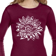 Ladies Shirt Sketch Lotus Long Sleeve Thermal Tee