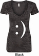 Ladies Shirt Smiley Chat Face Burnout V-neck Tee T-Shirt