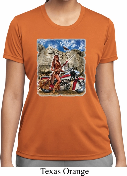 Ladies shirt sturgis indian moisture wicking tee t shirt for Sweat wicking t shirts