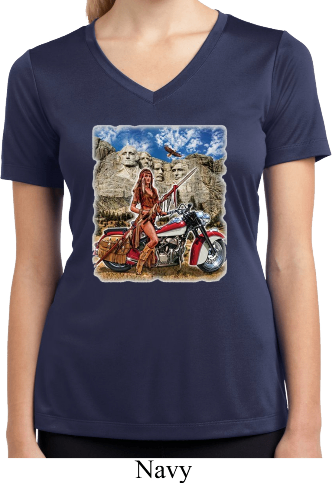 Ladies shirt sturgis indian moisture wicking v neck tee for Sweat wicking t shirts