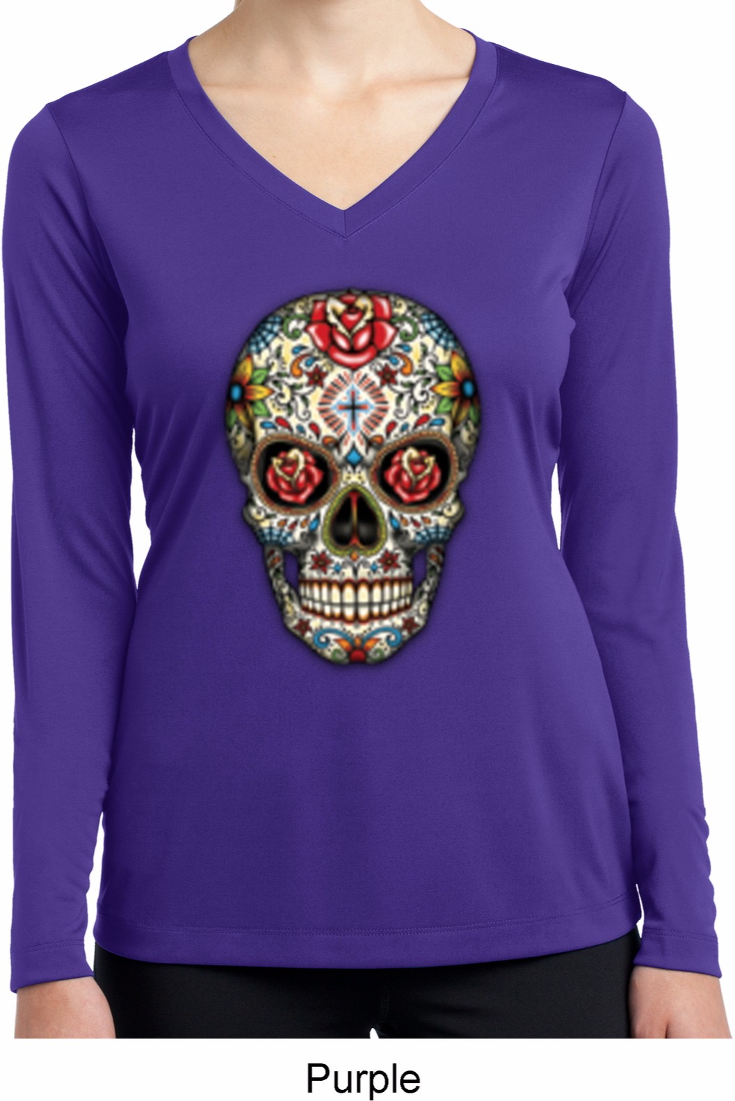 Ladies shirt sugar skull with roses dry wicking long for Misses long sleeve tee shirts