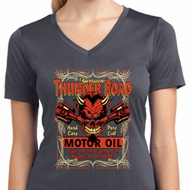 Ladies Shirt Thunder Road Moisture Wicking V-neck Tee