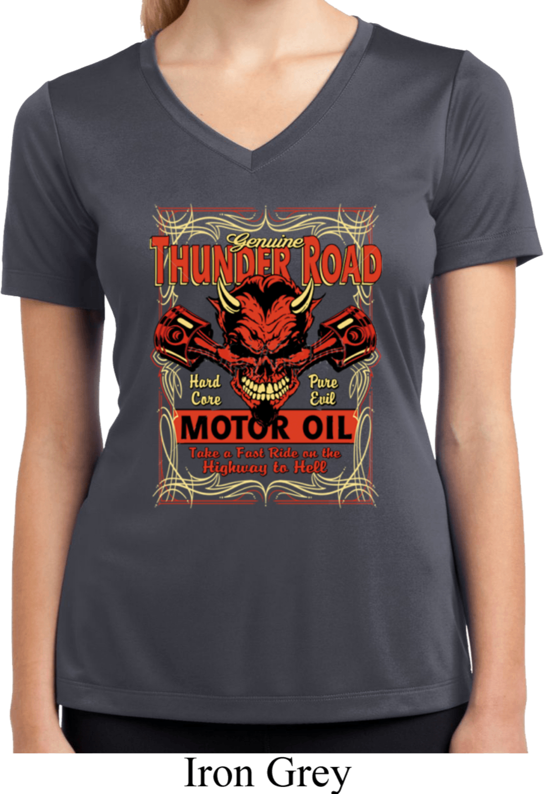 Ladies shirt thunder road moisture wicking v neck tee for Sweat wicking t shirts