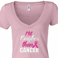 Ladies Shirt Tougher Than Cancer Burnout V-neck Tee T-shirt