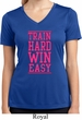 Ladies Shirt Train Hard Win Easy Moisture Wicking V-neck Tee T-Shirt