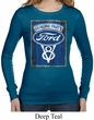 Ladies Shirt V8 Genuine Ford Parts Long Sleeve Thermal Tee T-Shirt