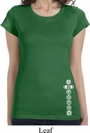 Ladies Shirt White 7 Chakras Bottom Print Longer Length Tee T-Shirt