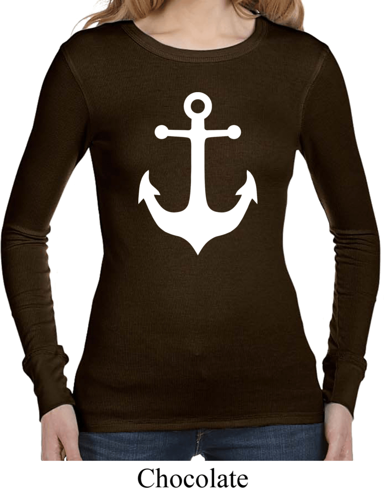 Ladies Shirt White Anchor Long Sleeve Thermal Tee White