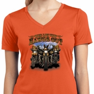 Ladies Shirt Who Let The Hawgs Out Moisture Wicking V-neck Tee