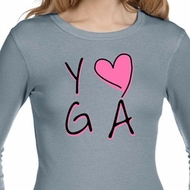 Ladies Shirt Yoga Love Long Sleeve Thermal Tee T-Shirt