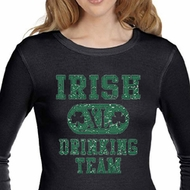 Ladies Shirts Irish Drinking Team Long Sleeve Thermal Tee T-Shirt