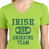 Ladies Shirts Irish Drinking Team Moisture Wicking V-neck Tee T-Shirt