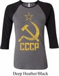 Ladies Soviet Shirt CCCP Distressed Raglan Tee T-Shirt
