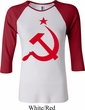 Ladies Soviet Shirt Red Hammer And Sickle Raglan Tee T-Shirt