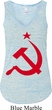 Ladies Soviet Tanktop Red Hammer And Sickle Flowy V-neck Tank Top