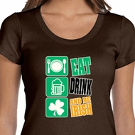 Ladies St Patrick's Day Shirt Eat Drink Be Irish Scoop Neck Tee