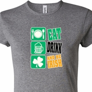 Ladies St Patrick's Shirt Eat Drink Be Irish Crewneck Tee T-Shirt