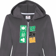 Ladies St Patricks Day Hoodie Eat Drink Be Irish Full Zip Hoody