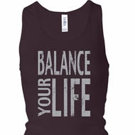 Ladies Tanktop Balance Your Life Longer Length Racerback Tank Top