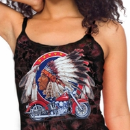 Ladies Tanktop Big Chief Indian Motorcycle Tie Dye Camisole Tank Top