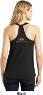 Ladies Tanktop Ford Racing Neck Print Black Shimmer Loop Back Tank Top