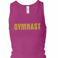Ladies Tanktop Gold Shimmer Gymnast Longer Length Racerback Tank Top