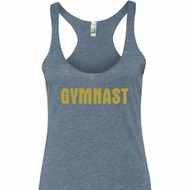 Ladies Tanktop Gold Shimmer Gymnast Tri Blend Racerback Tank Top