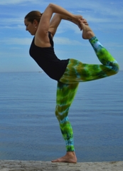 Ladies Tie Dye Leggings - Moss Green