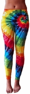Ladies Tie Dye Yoga Leggings - Rainbow Color