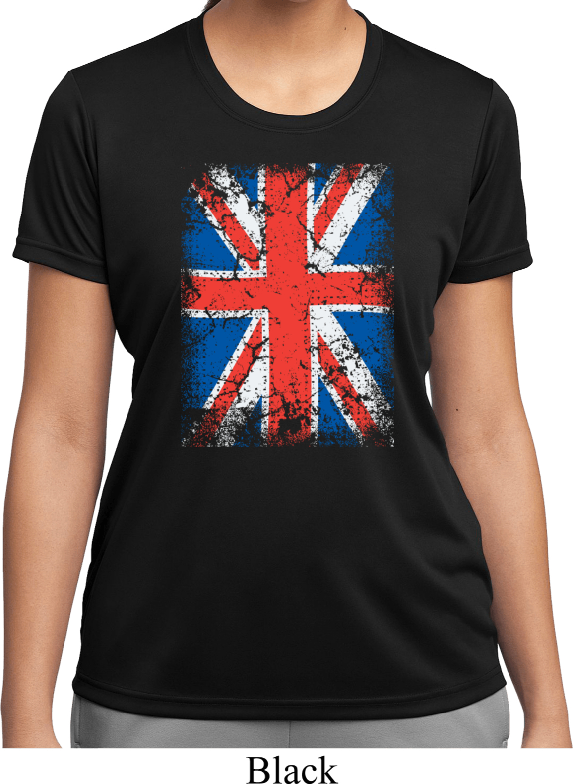 Ladies uk flag shirt union jack moisture wicking tee t for Sweat wicking t shirts