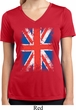 Ladies UK Flag Shirt Union Jack Moisture Wicking V-neck Tee T-Shirt