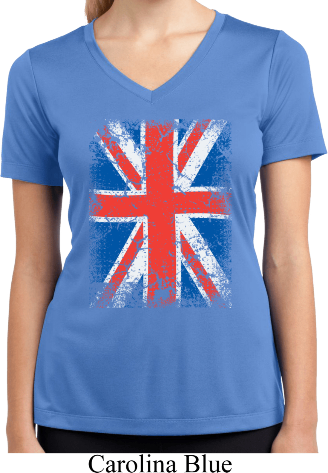 Ladies Uk Flag Shirt Union Jack Moisture Wicking V-Neck -4355