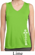 Ladies White 7 Chakras Bottom Print Sleeveless Moisture Wicking Tee