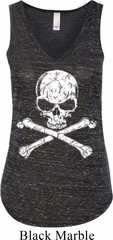 Ladies White Distressed Skull Flowy V-neck Tank Top