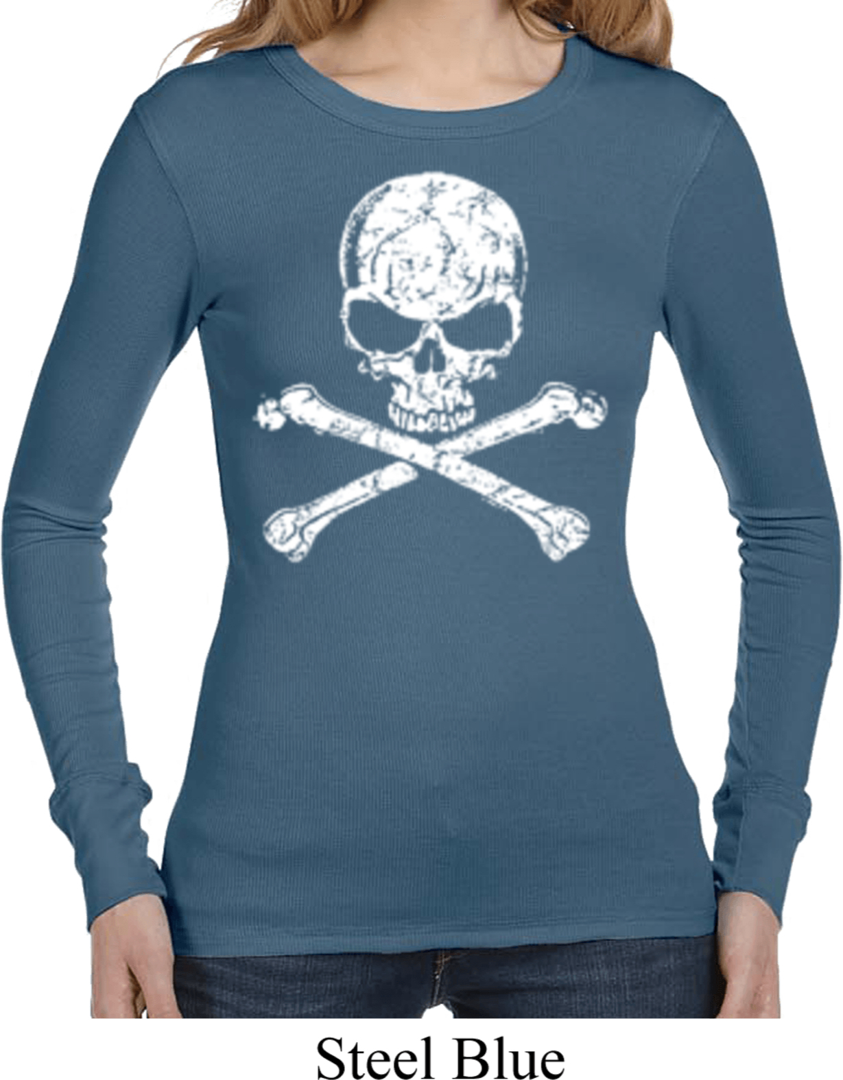 Ladies white distressed skull long sleeve thermal shirt for How to make a distressed shirt