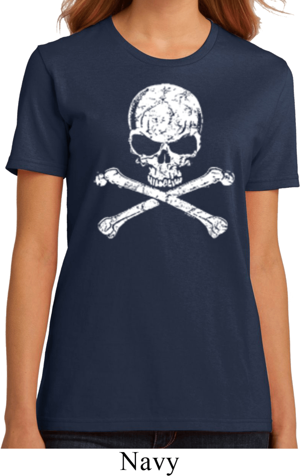 Ladies white distressed skull organic shirt white for How to make a distressed shirt